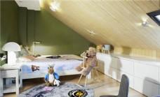 现代清新淑女卧室深绿色背景墙室内装修图
