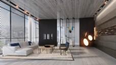 简约客厅个性吊灯装修效果图