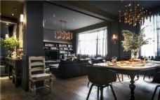 简约客厅圆形餐桌装修效果图