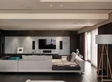 简约现代客厅沙发白色调效果图