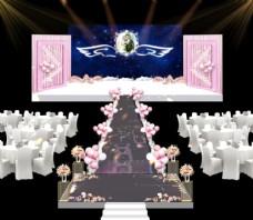 粉色气球婚礼效果图