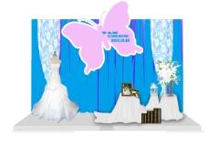 婚礼迎宾区蓝色蝴蝶