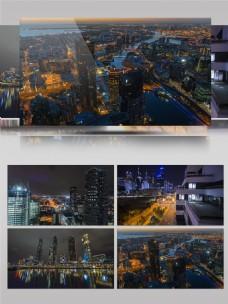 高清实拍墨尔本夜晚城市唯美视频素材