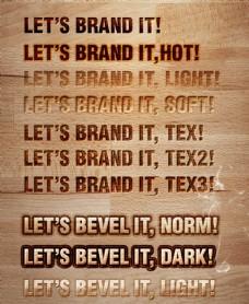 木纹凹陷字和立体字样式