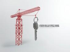 吊钥匙的塔吊创意设计PSD分层素材