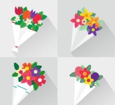 扁平美丽的花束