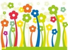 矢量可爱花朵卡通背景花纹