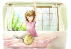 手绘水彩伸懒腰的女孩插画图片