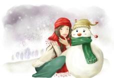 手绘水彩和雪人拍照的女孩插画图片