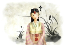 手绘水彩穿韩服的女孩插画图片