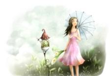 手绘水彩撑伞的女孩插画图片