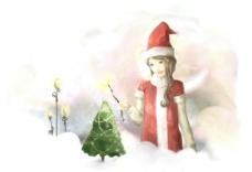 手绘水彩戴圣诞帽的女孩插画图片