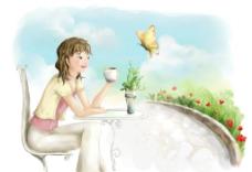 手绘水彩喝咖啡的女孩插画图片