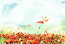 手绘水彩鲜花精灵风景插画图片