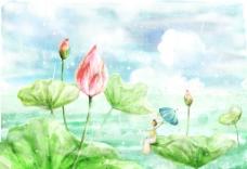 手绘水彩荷叶荷花风景插画图片