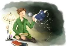 手绘水彩拿放大镜的女孩插画图片