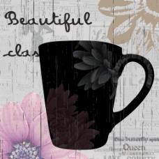 花型黑色茶杯画芯