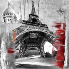 仰视巴黎铁塔画芯