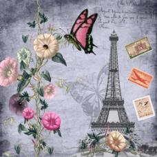 鲜花与蝴蝶画芯素材