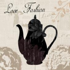 复古茶壶黑色装饰画芯花型图案