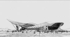 广西体育中心线描剪影图片