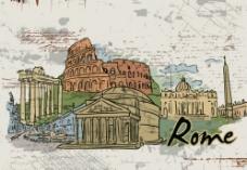 手绘城市建筑图片