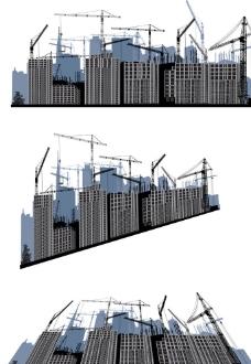 城市建筑工地剪影图片