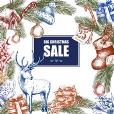 圣诞大甩卖手画颜色矢量海报