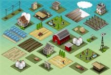 农场建筑外观插画