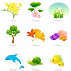 矢量鲜花动物小图标图片