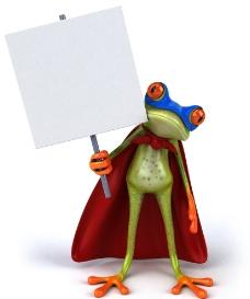 创意举牌3D雨蛙图片