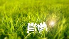 创意字体设计草地上的字