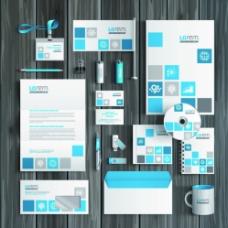蓝色方格VI设计图片