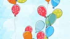 上升的卡通涂鸦气球视频素材(无限循环)