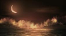月光下的宁静海面循环视频素材