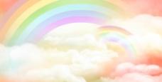 浪漫粉红色彩虹儿童背景素材