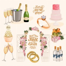 唯美时尚的结婚用品插画