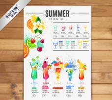 夏日派对鸡尾酒酒水单矢量图图片