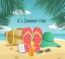 沙滩度假插画海报图片