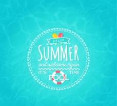夏日游泳池海报素材图片