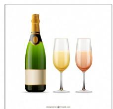 香槟酒与酒杯图片