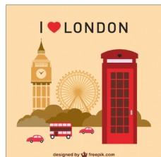 我爱伦敦插画图片