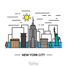 卡通 线条 纽约 矢量