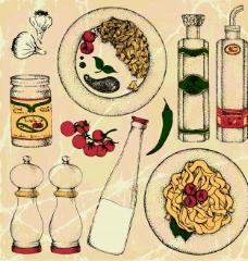 素描简单餐具
