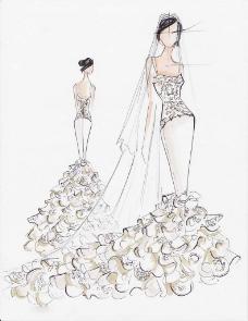 拖尾婚纱设计