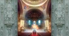 大教堂红地毯星光闪烁婚庆