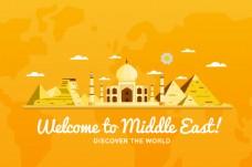 橙黄色背景中东旅游旅行矢量素材