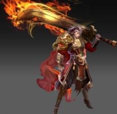 一个男战士游戏角色原画图片