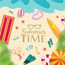 夏日暑假七彩沙滩图片