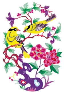 剪纸图案鸟